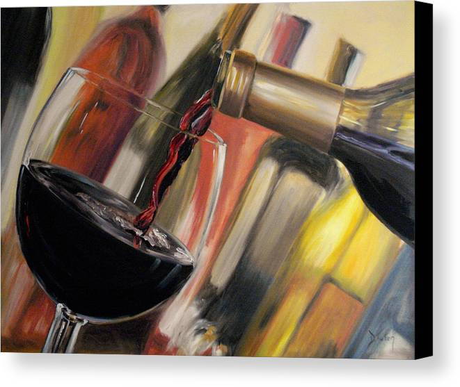 Wine Canvas Print featuring the painting Wine Pour II by Donna Tuten