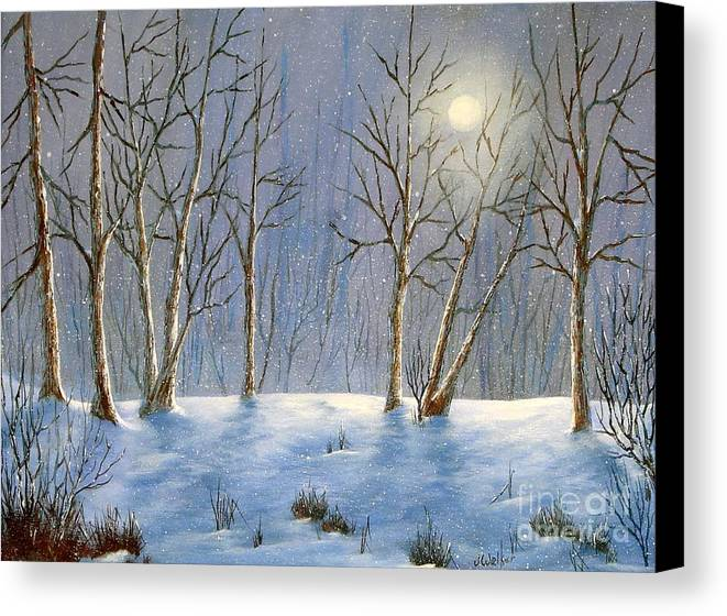 Landscape Canvas Print featuring the painting Winter Night by Jerry Walker