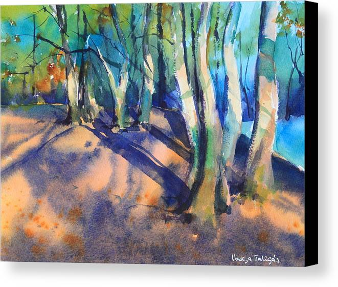 Woodland Canvas Print featuring the painting Woodland by Ibolya Taligas