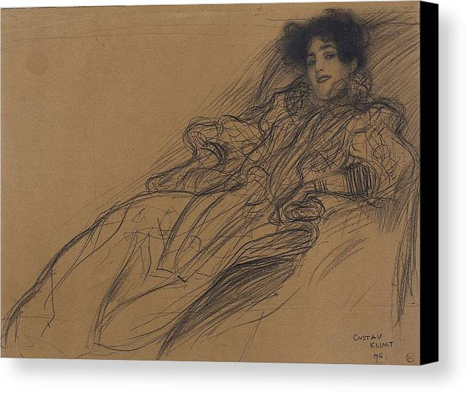 Young Woman In An Armchair Canvas Print featuring the drawing Young Woman In An Armchair by Grypons Art