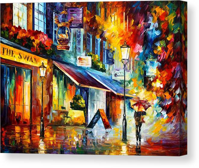 Afremov Canvas Print featuring the painting The Swan London by Leonid Afremov