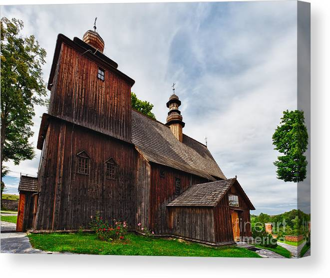 Poland Canvas Print featuring the photograph Wooden Church In Rabka Malopolska Poland by Frank Bach