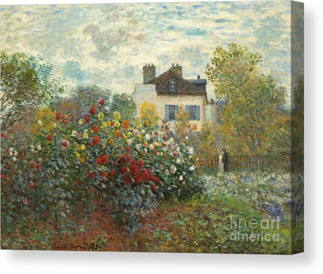 French Canvas Print featuring the painting A Corner Of The Garden With Dahlias by Claude Monet