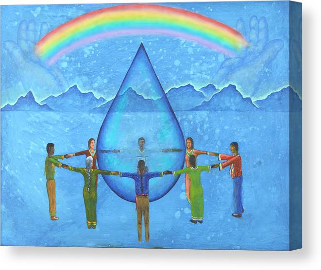 Native American Canvas Print featuring the painting A Prayer For Water by Kevin Chasing Wolf Hutchins