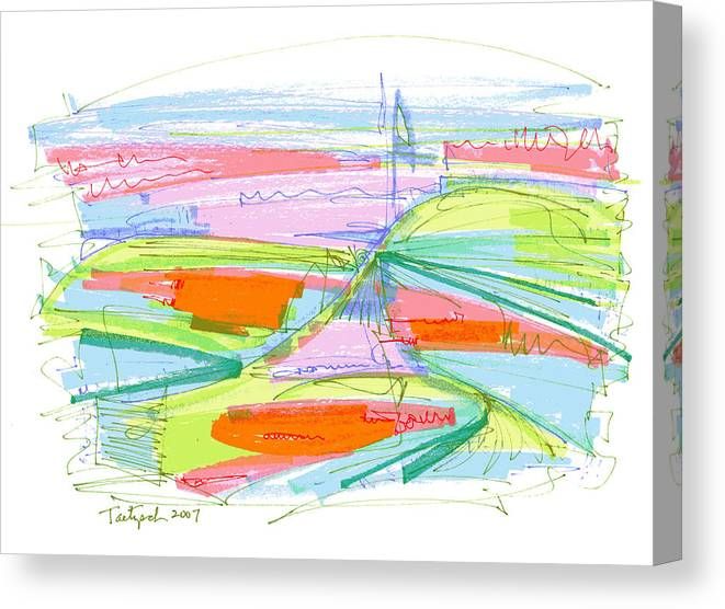 Abstract Canvas Print featuring the drawing Abstract Pen Drawing Forty-three by Lynne Taetzsch