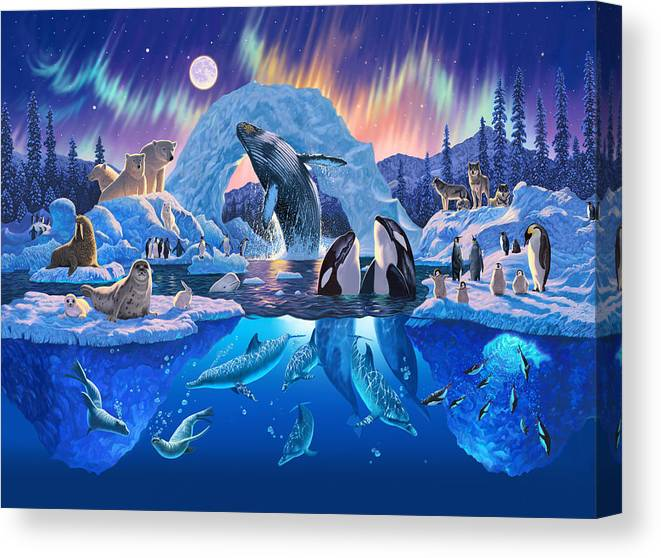 Animal Canvas Print featuring the photograph Arctic Harmony by MGL Meiklejohn Graphics Licensing