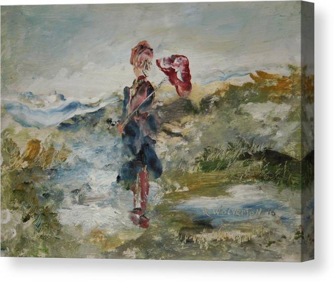 At The Ocean On A Rainy Day Canvas Print featuring the painting At The Ocean On A Rainy Day by Edward Wolverton