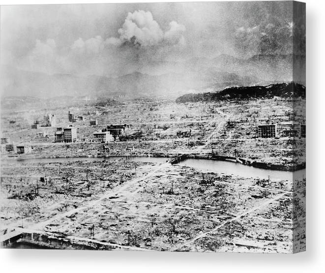 Hiroshima Canvas Print featuring the photograph Atomic Bomb Destruction by Library Of Congress/science Photo Library