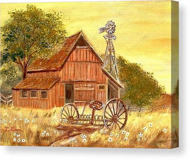 Barn Old Rake Windmill Canvas Print featuring the painting Barn - Windmill - Old Rake by Kenneth LePoidevin