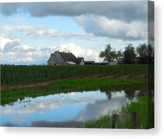 Barn Canvas Print featuring the photograph Barn Reflected In Pond by Karen Molenaar Terrell
