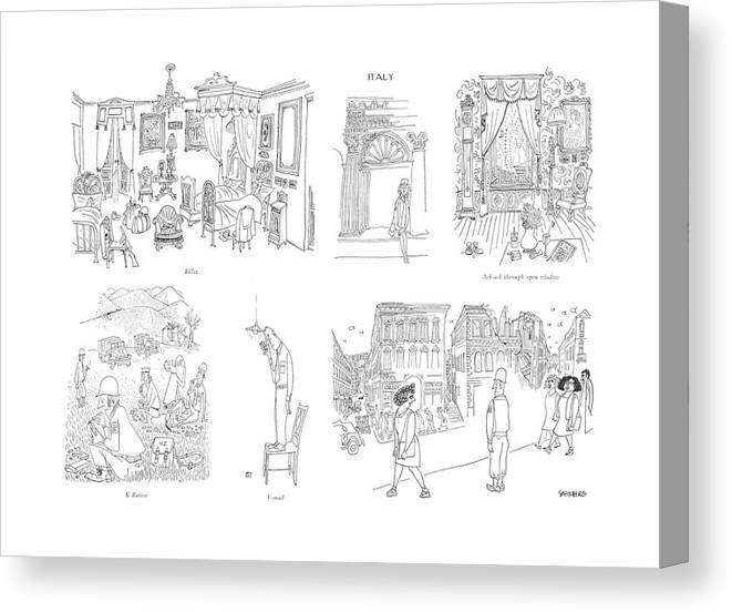 113398 Sst Saul Steinberg Billet Billet K Ration V-mail Ack-ack Through Open Window Montage Of Soldiers In Italy. The Inside Of A Room Canvas Print featuring the drawing Billet  K Ration  V-mail  Ack-ack Through Open by Saul Steinberg