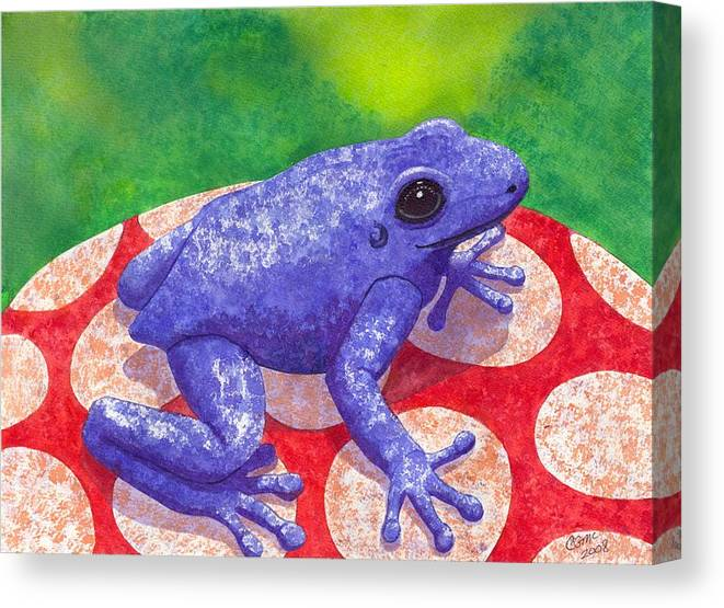 Frog Canvas Print featuring the painting Blue Frog by Catherine G McElroy