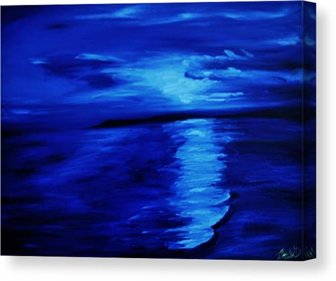 Blue Sunset Canvas Print featuring the painting Blue Sunset by Naidu Martinez