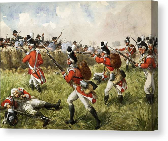 Shooting Canvas Print featuring the painting Bunkers Hill, 1775 by Richard Simkin