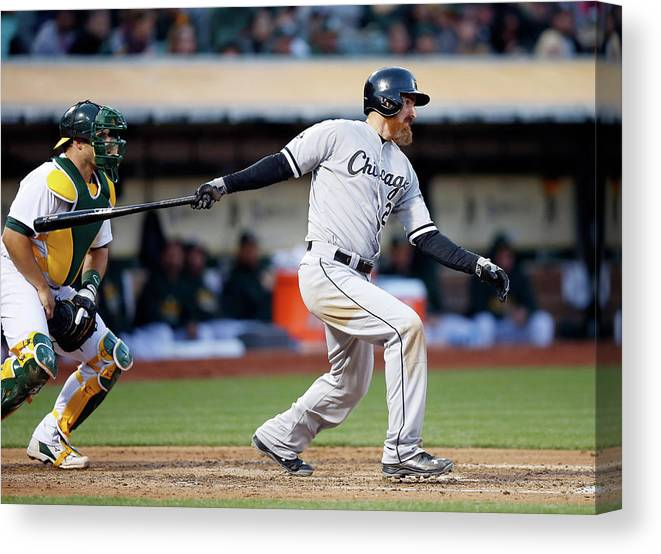 Adam Laroche Canvas Print featuring the photograph Chicago White Sox V Oakland Athletics by Ezra Shaw