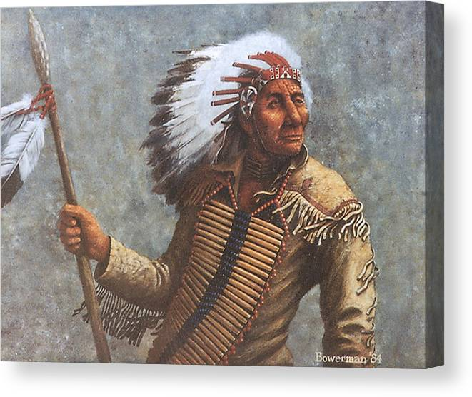 Native American Canvas Print featuring the painting Chief Knife by Lee Bowerman