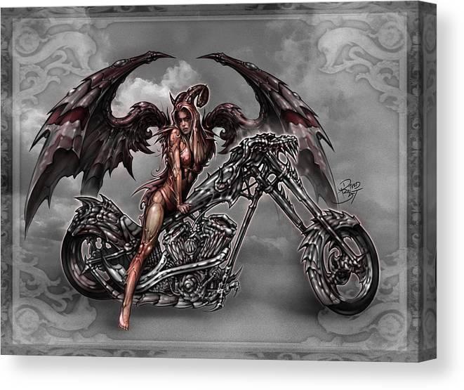 643553e0deb Angel Digital Art Canvas Print featuring the digital art Chrome Dragon by David  Bollt