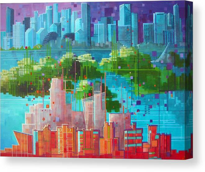 Miami Canvas Print featuring the painting City 35 Tropical Rhythm by Carol Joy Shannon