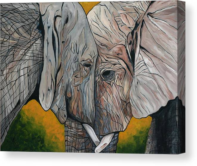 Elephant Canvas Print featuring the painting Comfort by Aimee Vance