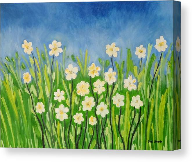 Landscape Canvas Print featuring the painting Daisies In The Spring by Simi Sherin