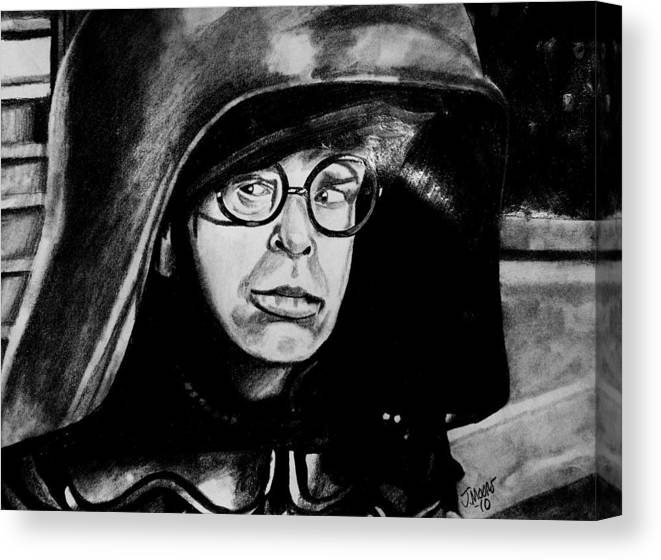 Dark Helmet Rick Moranis Spaceballs Mel Brooks Star Wars Jedi Sith Outer Space Scifi Fantasy Comedy Movie Actor Celebrity Canvas Print featuring the drawing Dark Helmet by Jeremy Moore