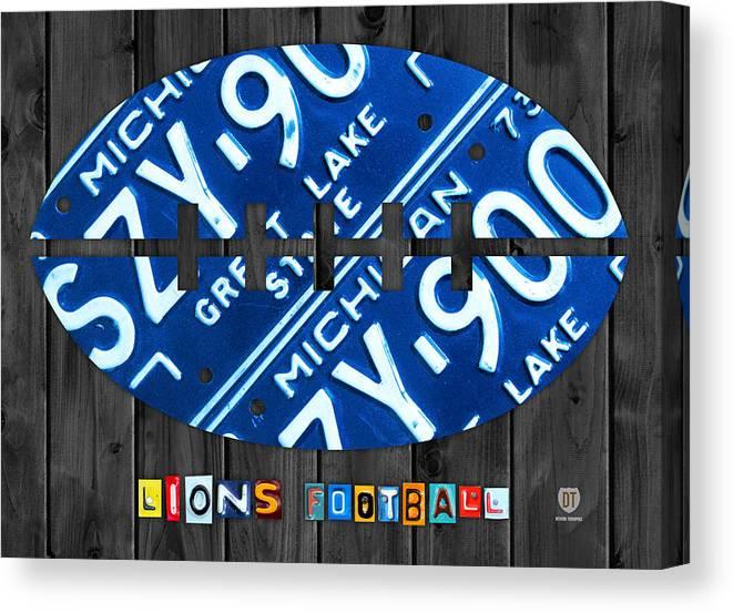 online store 54cbe 99b1a Detroit Lions Football Vintage License Plate Art Canvas Print