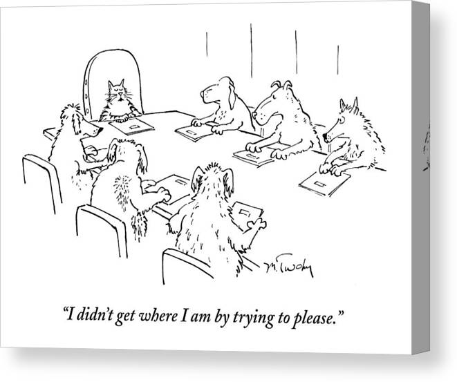 Caption Contest Tk Canvas Print featuring the drawing Dogs At A Meeting by Mike Twohy
