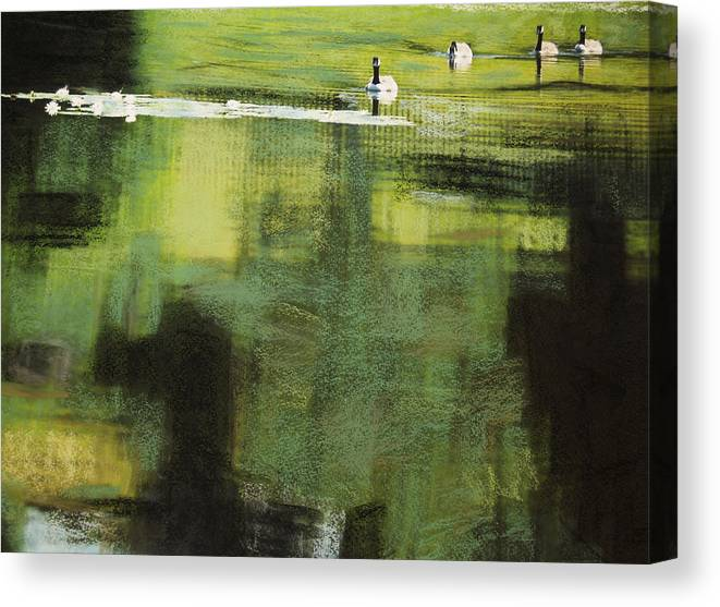 Geese Canvas Print featuring the photograph Geese On Pond by Andy Mars