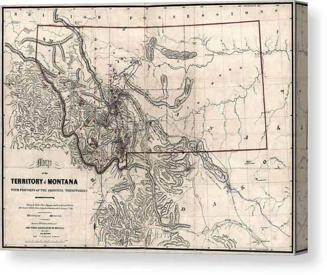 image regarding Printable Map of Montana called Montana Gold And Silver Diggings Map 1865 Canvas Print