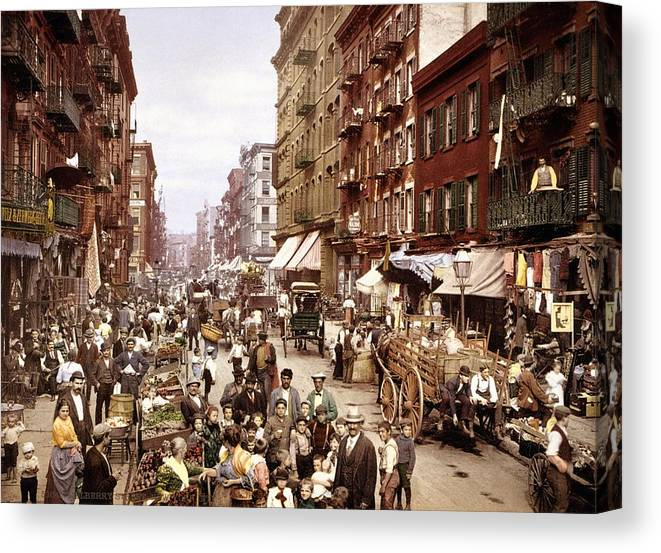Mulberry Street Canvas Print featuring the photograph Mulberry Street, New York, Circa 1900 by Science Photo Library