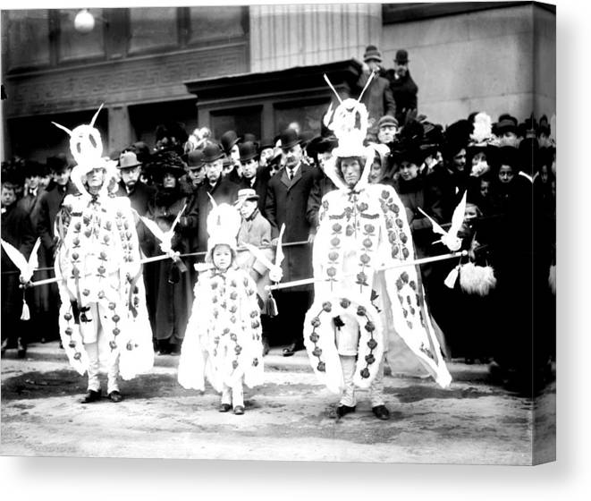 1909 Canvas Print featuring the photograph Mummers Circa 1909 by Bill Cannon