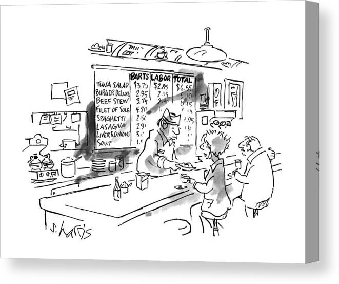 No Caption Items On Wall Menu Behind Diner Counter Are Divided Into Three Categories: Parts Canvas Print featuring the drawing New Yorker August 21st, 1995 by Sidney Harris