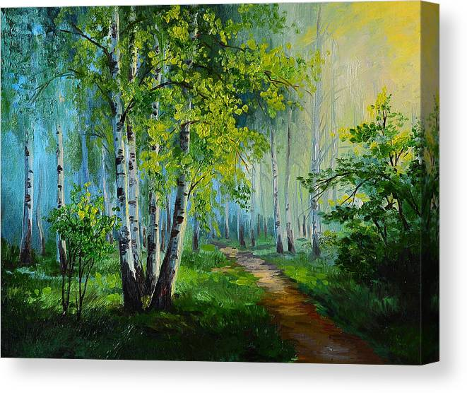 Oil Painting Landscape Birch Forest Abstract Drawing Made In Canvas Print