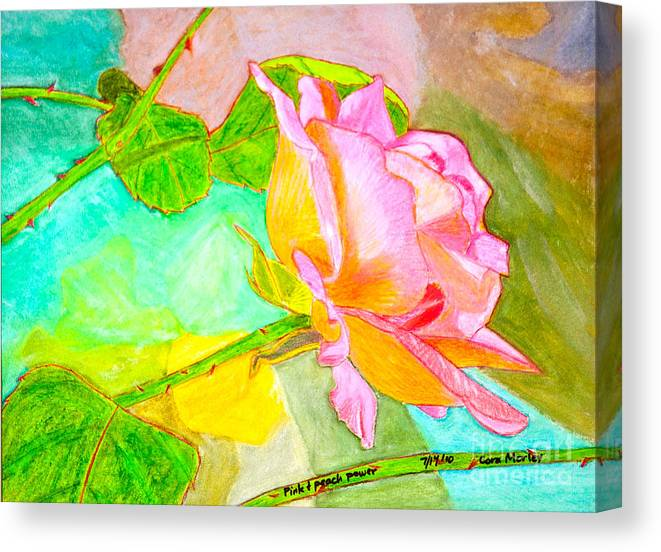 Abstract Canvas Print featuring the painting Pink Peach Power by Cora Eklund