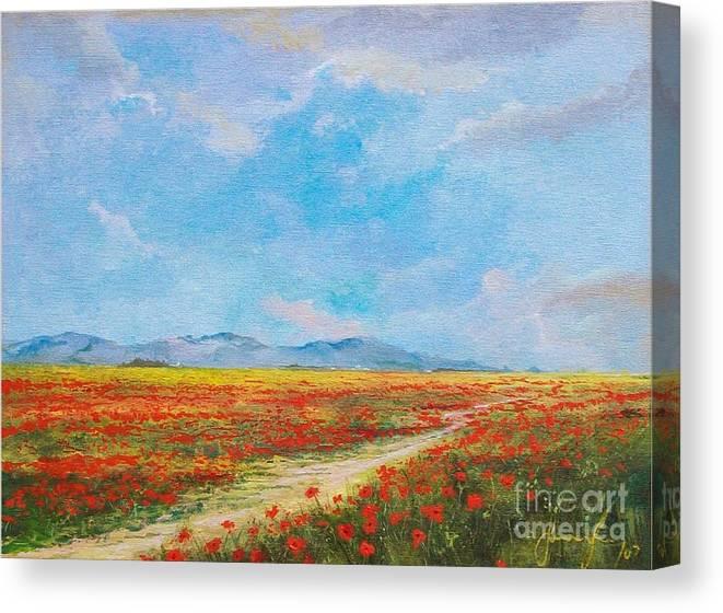 Poppy Field Canvas Print featuring the painting Poppy Field by Sinisa Saratlic