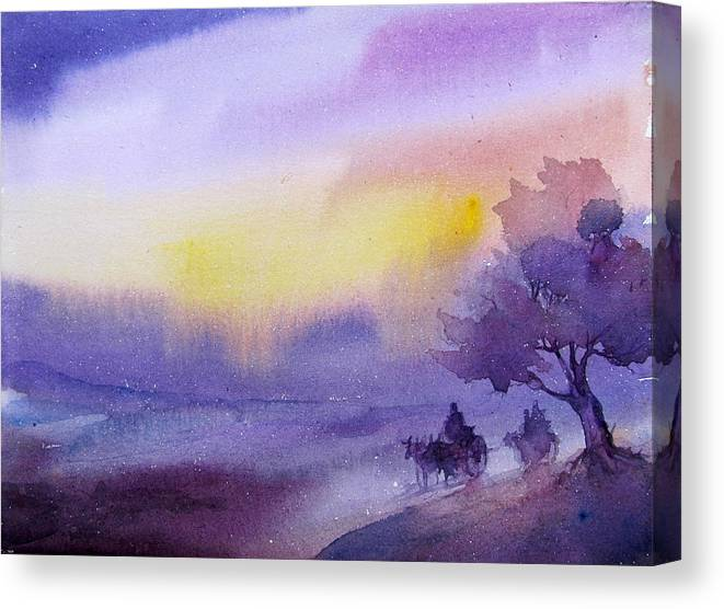 Water Colour Canvas Print featuring the painting Purple Haze... by Soman Patnaik