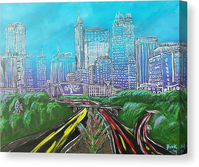 Raleigh Canvas Print featuring the painting Raleigh Art Deco Skyline by Dink Densmore