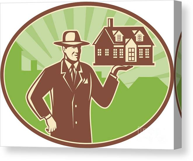 Realtor Canvas Print featuring the digital art Realtor Real Estate Salesman House Retro by Aloysius Patrimonio