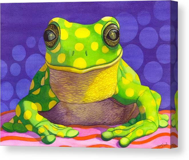 Frog Canvas Print featuring the painting Spotted Frog by Catherine G McElroy