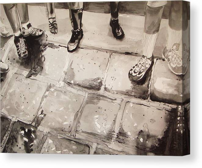 People Standing In A Group Canvas Print featuring the painting Standing On Ballast					 by Bianca Romani