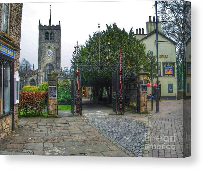 Kirklands Canvas Print featuring the photograph The Church Gate At Kirklands In Kendal by Joan-Violet Stretch