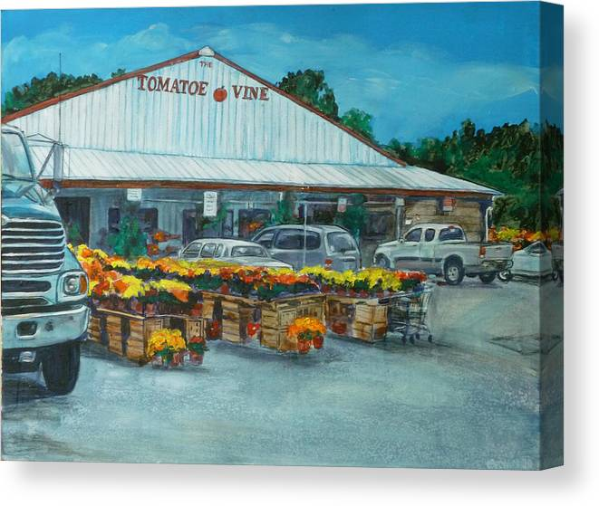 Vegetable Stand Canvas Print featuring the painting The Tomatoe Vine by Bryan Bustard