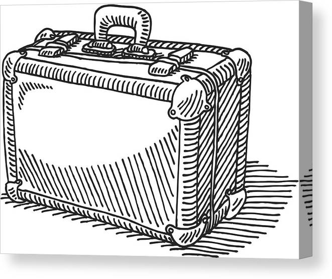 Travel Suitcase Drawing Canvas Print