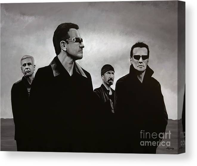 U2 Canvas Print featuring the painting U2 by Paul Meijering