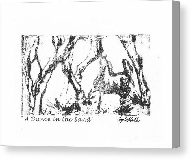 Horses Canvas Print featuring the drawing A Dance In The Sand by Angela Marks