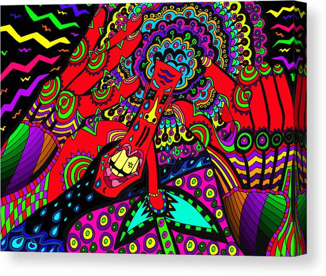 Sore Head Canvas Print featuring the painting Bad Day - My Brain Is Sore by Karen Elzinga