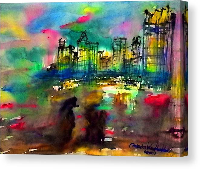 Landscapes Canvas Print featuring the painting Beautiful Light In The Evening Of Pattaya Beach by Wanvisa Klawklean