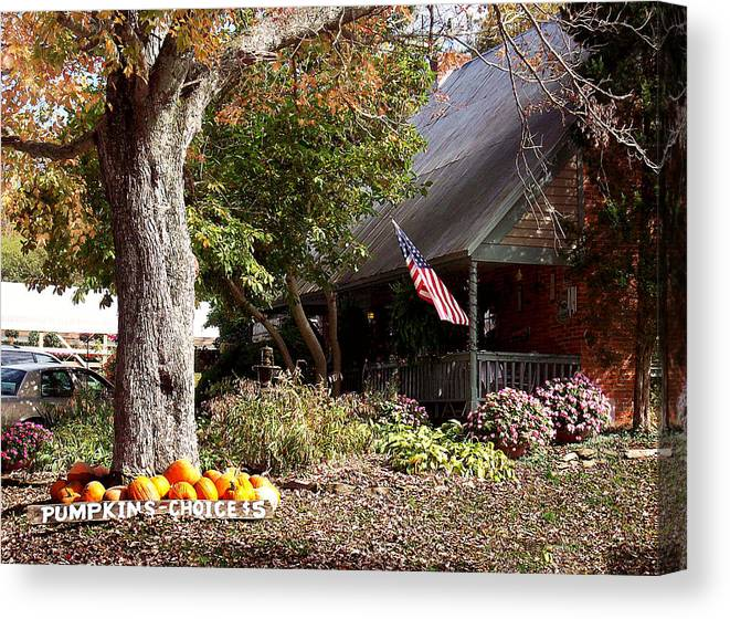 Landscape Canvas Print featuring the photograph Farmhouse Cafe by Judith Lawhon