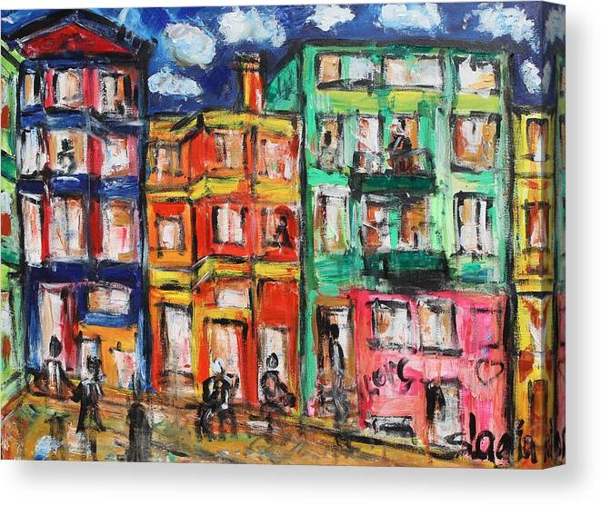 Cities Canvas Print featuring the painting Happy Street by Sladjana Lazarevic