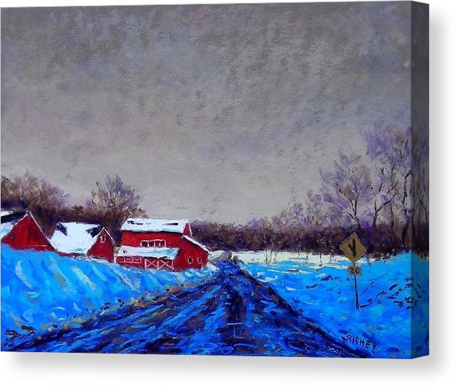 Pastel Canvas Print featuring the pastel Hunterdon County Barns In Winter by Bob Richey